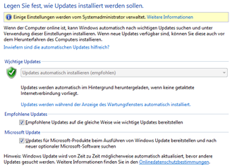 Windows Update-Einstellungen unter Windows 8 in der Systemsteuerung