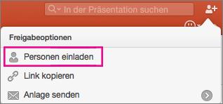 """PowerPoint für Mac, """"Freigeben"""""""