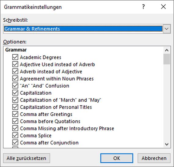 """Dialogfeld """"Grammatik und mehr"""""""
