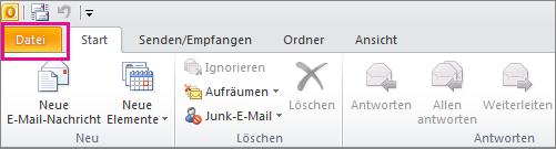 "In Outlook 2010: Wählen Sie die Registerkarte ""Datei"" aus."