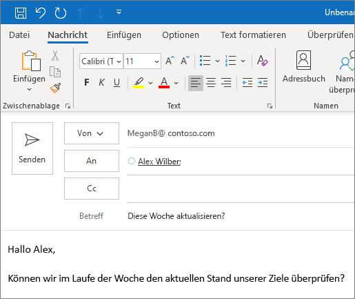 Erstellen und Senden einer E-Mail