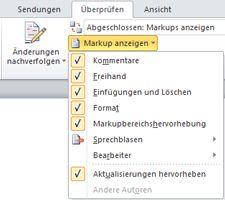 """Liste der Optionen von """"Markup anzeigen"""""""