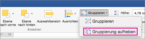 """Zum Auflösen einer Gruppierung klicken Sie auf der Registerkarte """"Formformatierung"""" oder der Registerkarte """"Bild formatieren"""" auf """"Gruppierung aufheben""""."""