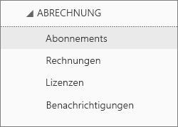 """Screenshot des Menüs """"Abrechnung"""" im Office 365 Admin Center, """"Abonnements"""" ausgewählt"""