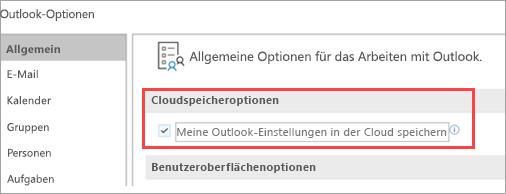 Zeigt Outlook-Einstellungsoptionen an