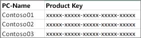 Beispiel für eine zweispaltige Product Key-Liste