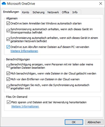 """Registerkarte """"Allgemeine Einstellungen"""" in OneDrive mit aktivierter Option """"Abrufen"""""""