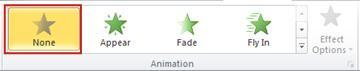 """Gruppe """"Animation"""" mit der ausgewählten Option """"Keine"""""""