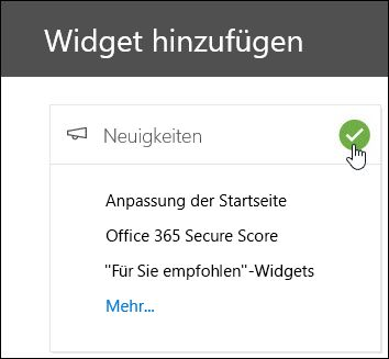"Screenshot des Flyout ""Widgets hinzufügen"" im Security & Compliance Center"