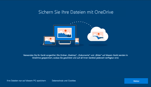 Screenshot der OneDrive-Seite, die bei der ersten Verwendung von Windows 10 angezeigt wird