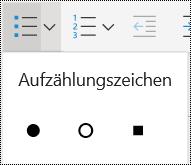 """Menü """"Aufzählung"""" in OneNote Online."""