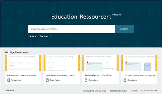 Education-Ressourcen: Formularsuche