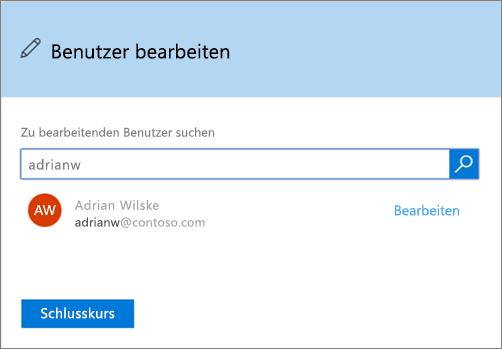 "Screenshot des Felds ""Benutzer bearbeiten"" in Office 365"