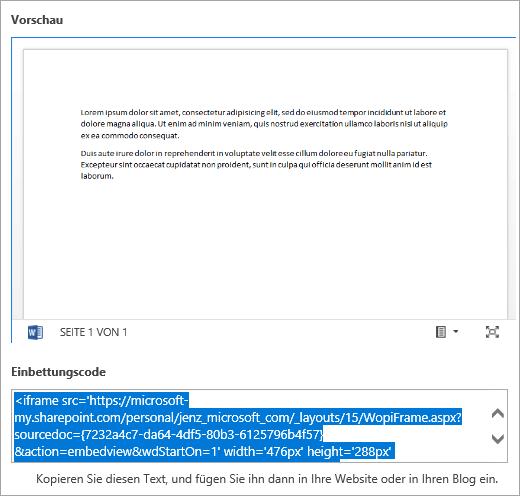 Kopieren des Einbindungscodes eines Office-Dokuments