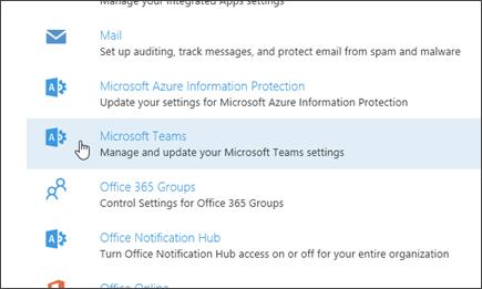 """Scrollen Sie auf der Seite """"Dienste und Add-Ins"""" nach unten, und wählen Sie """"Microsoft Teams"""" aus."""