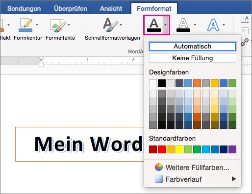 """Registerkarte """"Formformatierung"""" mit hervorgehobener Option """"Textfüllung"""""""