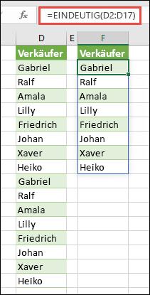 EINDEUTIG-Funktion zum Sortieren einer Liste von Namen