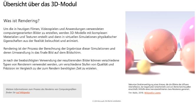 """Screenshot im Abschnitt """"3D-Modulübersicht"""" der Richtlinien für 3D-Inhalte"""