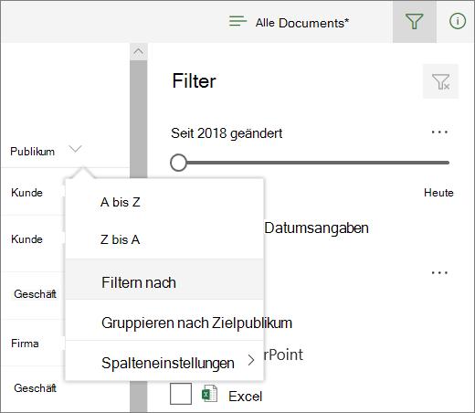 Klicken Sie auf Filtern nach, um die Filterleiste zu öffnen.