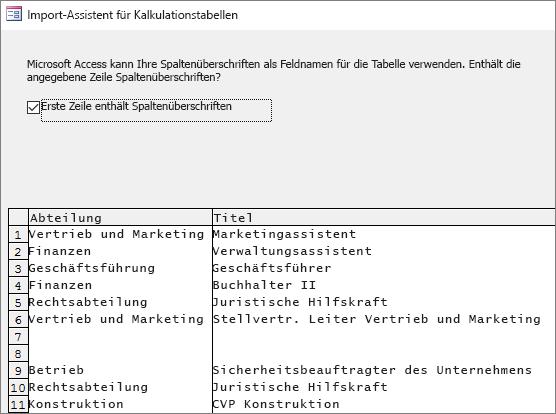 Importieren von Daten aus Excel