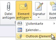 "Befehl ""Outlook-Element"" im Menüband"