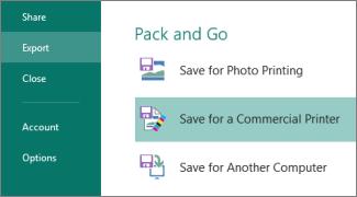 """Klicken Sie auf """"Datei"""" > """"Exportieren"""", um die Optionen für """"Pack and Go"""" anzuzeigen."""