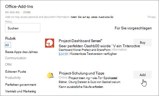 Screenshot der Seite Office-Add-ins im Suchen nach ein Add-In für Project oder Store, in dem Sie auswählen können.