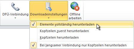 Befehl 'Downloadeinstellungen' im Menüband
