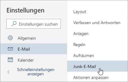 """Screenshot des Menüs """"Einstellungen"""" mit """"Junk-E-Mail"""" ausgewählt"""