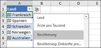 Fügen Sie eine Spalte hinzu, um einen Bevölkerungsdatensatz hinzuzufügen