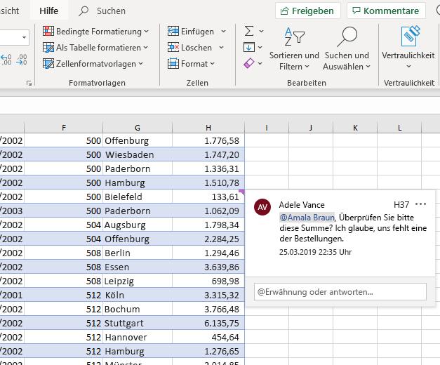 Screenshot des Erstellens eines Kommentars in Excel
