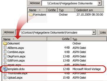 Inhalt des Formularordners in einer Dokumentbibliothek