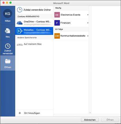 Dialogfeld ' Datei öffnen ' in Microsoft Word für Mac für Office 365