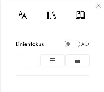 Menü der Zeilenfokusoptionen im plastischen Reader-Teil des Lerntools-Add-Ins für OneNote.