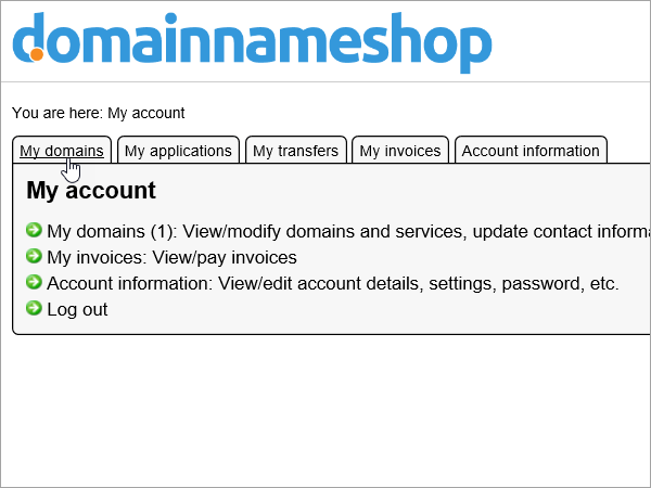 Die Registerkarte Meine Domänen in Domainnameshop ausgewählt ist