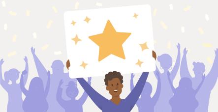 Illustrierte Person hält einen Stern hoch
