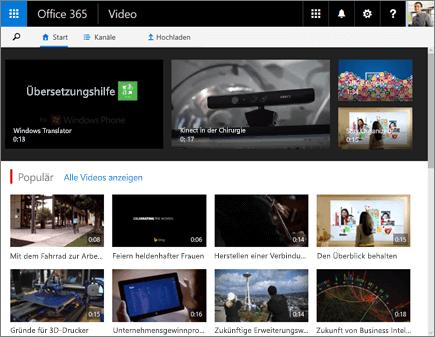 Screenshot der Startseite von Office 365 Video