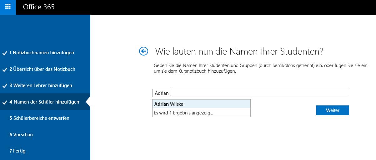 Screenshot zum einzelnen Hinzufügen von Kursteilnehmernamen mit OneNote-Kursnotizbücher