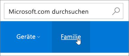 """Screenshot der Registerkarte """"Familie"""" auf der Microsoft-Kontoseite"""