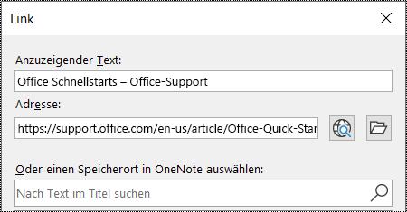 """Screenshot des OneNote-Dialogfelds """"Link"""". Enthält zwei auszufüllende Felder: """"Anzuzeigender Text"""" und """"Adresse""""."""