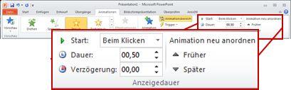 Die Gruppe 'Anzeigedauer' auf der Registerkarte 'Animationen' im PowerPoint2010-Menüband