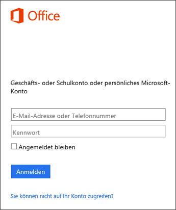 Screenshot der Anmeldeseite für die Installation von Office