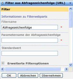 Toolbereich für das Filterwebpart aus der Abfragezeichenfolge (URL)