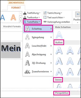 Schattenoptionen auf der Registerkarte 'Zeichentools Format' nach dem Klicken auf 'Texteffekte' und dann auf 'Schatten'