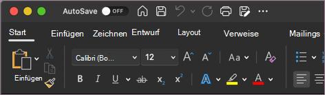 Dunkles Design für Word in macOS