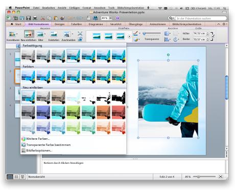 PowerPoint-Oberfläche mit dem Office für Mac-Menüband