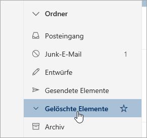 """Screenshot des Ordners """"Gelöschte Elemente"""""""