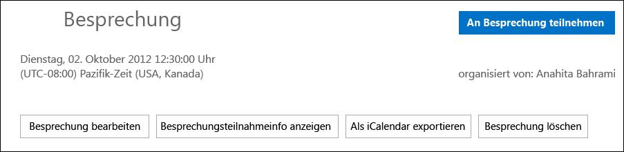 Screenshot des Felds 'Besprechung' mit der Option zum Exportieren als iCalendar