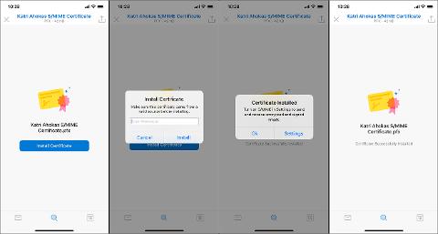 Bildschirm mit einem Zertifikat, das auf einem mobilen Gerät installiert wird.