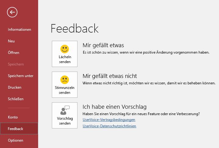 """Klicken Sie auf """"Datei"""" > """"Feedback"""", um Microsoft Ihre Kommentare und Vorschläge zu Access mitzuteilen."""